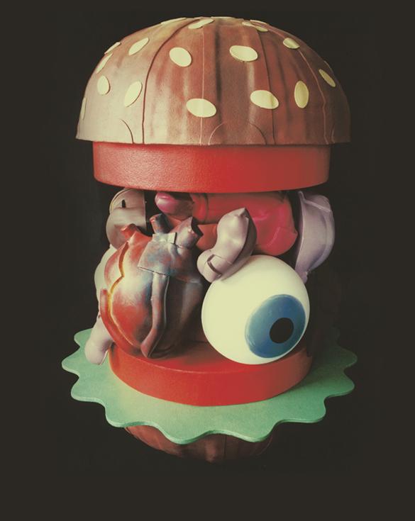 Hamburger aux organes - 100 x 120 cm - Carton, liège et caoutchouc